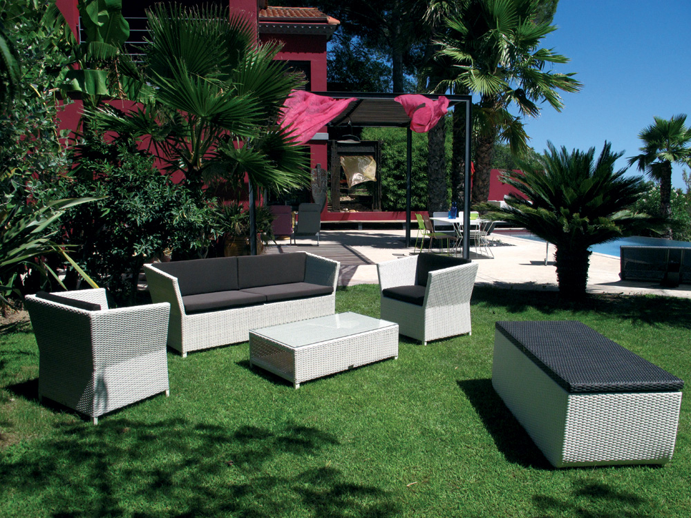 Salon de jardin en r sine tress e eden deco jardinchic for Salon jardin design contemporain